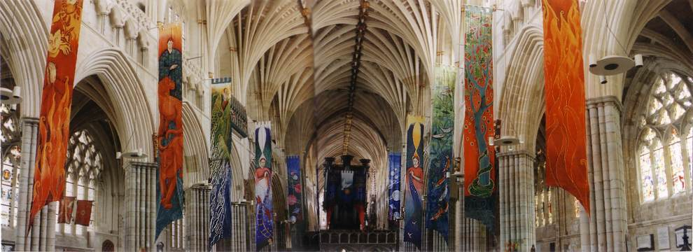 Banners in Exeter Cathedral