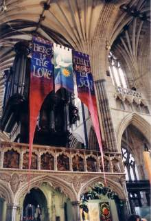 Banners in front of the Organ